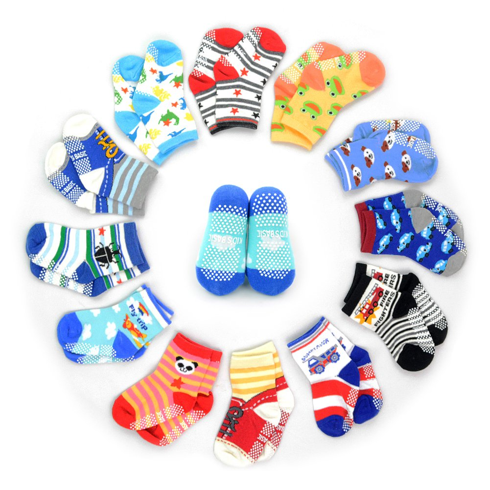 12 Pairs Anti-slip Socks Toddler Socks, HOVEOX Kids Baby Socks Non-Skid Crew Walkers Unisex For 12-36 Months 1-3 Years Baby Boys Girls Lowcut Ankle Cotton Stretch Footsocks Assorted Color Cartoon babysocks12
