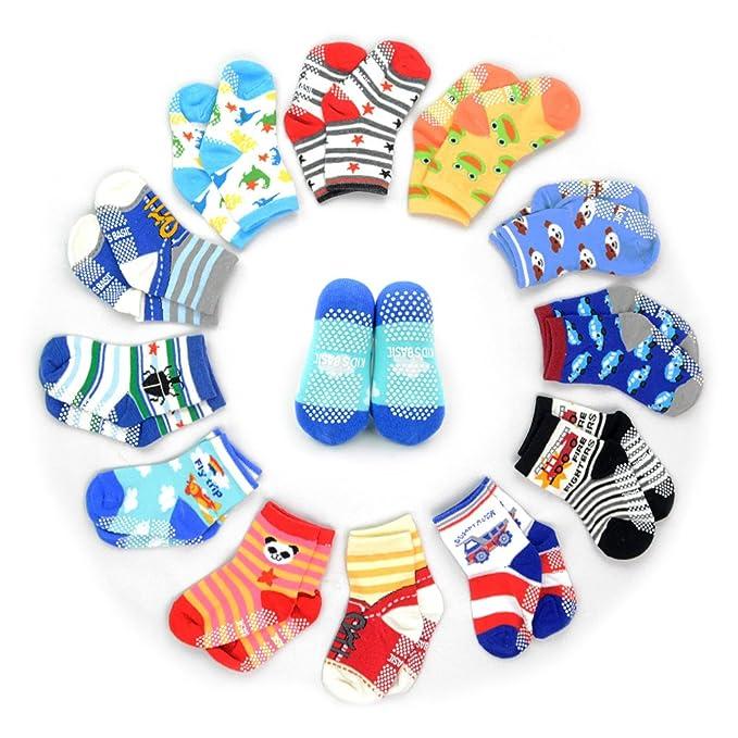 12 Pairs Anti Slip Socks Toddler Socks Hoveox Kids Baby Socks Non