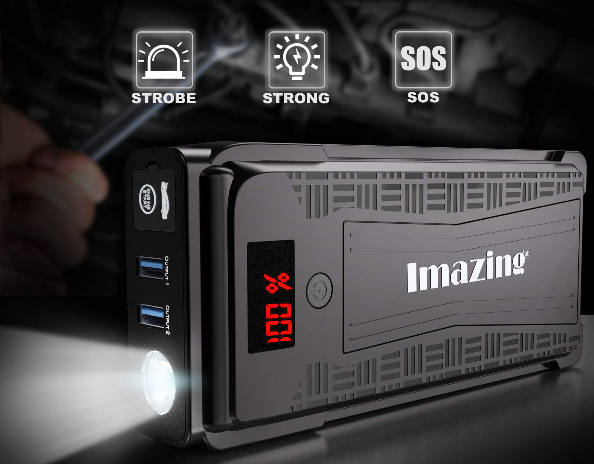 Imazing Portable Car Jump Starter - 2500A Peak 20000mAH (Up to 8L Gas or 8L Diesel Engine) 12V Auto Battery Booster Portable Power Pack with LCD Display Jumper Cables, QC 3.0 and LED Light by Imazing (Image #3)