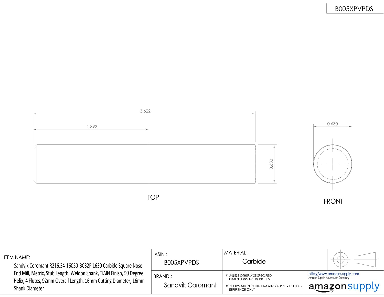 Sandvik Coromant R216.34 Carbide Square Nose End Mill Metric 4 Flutes 14mm Shank Diameter 50 Deg Helix Weldon Shank TiAlN Monolayer Finish 14mm Cutting Diameter 83mm Overall Length