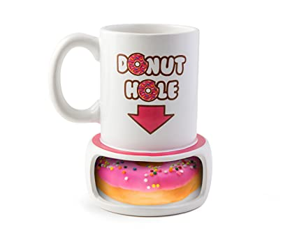 29aa0eeaaca BigMouth Inc. Donut Hole Mug, Ceramic Cup for Coffee and Tea with Handle,  Funny Novelty Cup