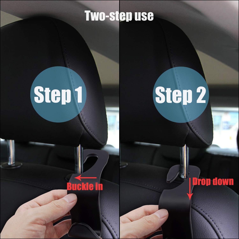 TRENDBOX 4 Pack Car Seat Headrest Hanger Hooks Storage Organizer Auto Hooks 5559020856