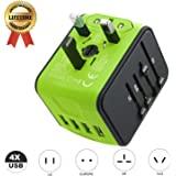 Travel Adapter JMFONE International Tavel Power Adapter 4 USB Wall Charger Worldwide Travel Charger Universal AC Wall Outlet Plugs for US, EU, UK, AU 160 Countries (green)