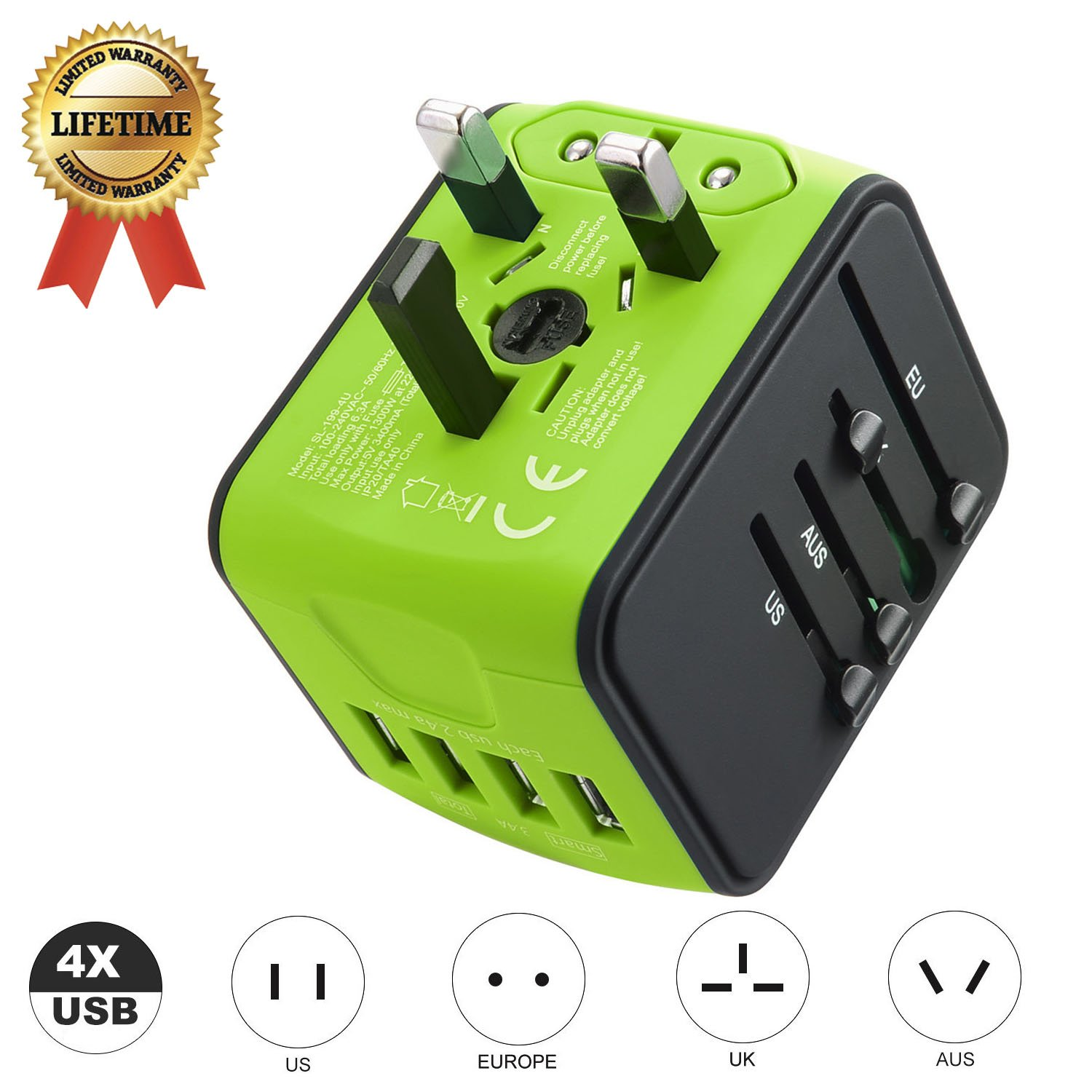 Travel Adapter JMFONE International Tavel Power Adapter 4 USB Wall Charger Worldwide Travel Charger Universal AC Wall Outlet Plugs US, EU, UK, AU 160 Countries (Green) by JMFONE