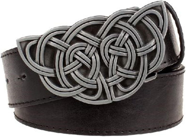 KEBINAI Fashion womens leather belt Weave stripe pattern casual belt Celtic Knot style Jeans strap metal big buckle belt