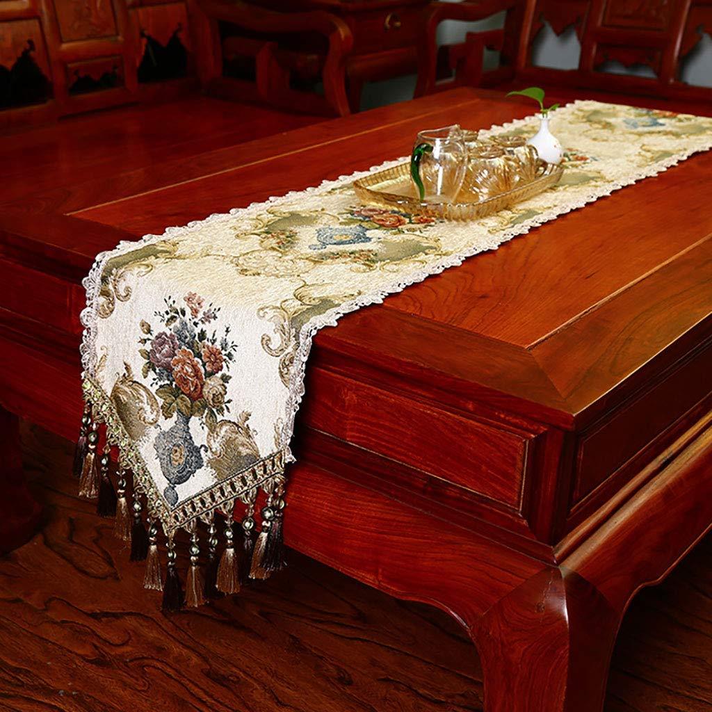 しわのないテーブルランナー、房付きポリエステルジャカードテーブルランナー付きテーブルランナー、グリーン、ベージュ(色:ベージュ、サイズ:35 * 240 cm)   B07SHLBPHH