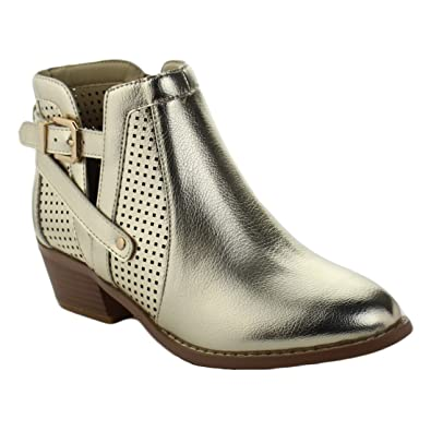 Womens Ankle High Side Slits Classic Buckled Transitional Low Heel Booties Catalina-107 Suede Boots