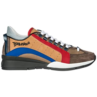 46c30ca62233 Dsquared2 Chaussures Baskets Sneakers Homme en Cuir 551 Marron EU 44  SNM040413030001M1411