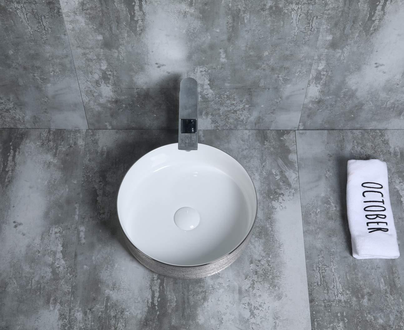 STARBATH PLUS Ceramic Countertop Basin Sink Washbasin Vessel SFINCIL 35 x 35 cm x 12 cm SILVER