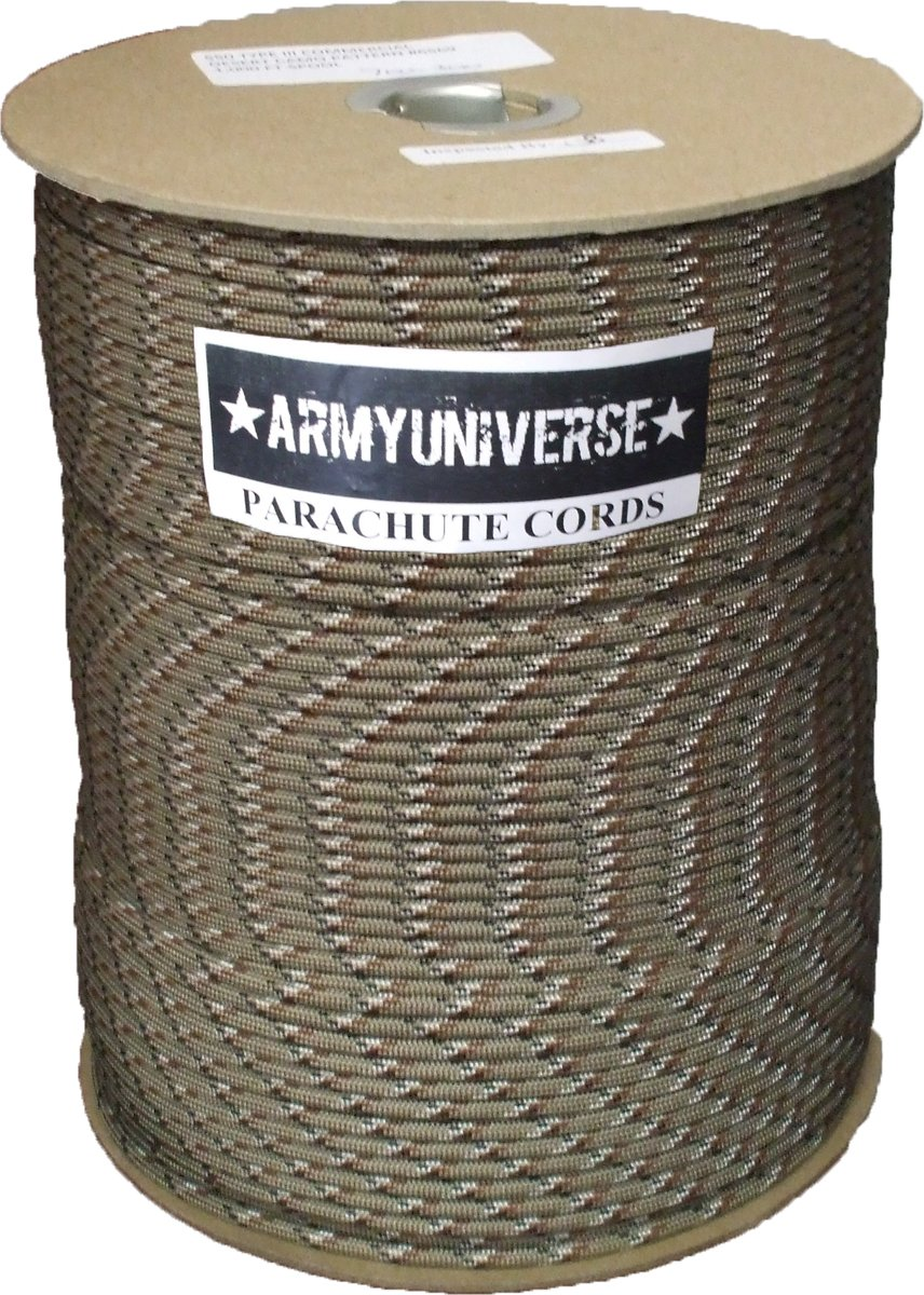 Desert Camouflage Parachute Cord 550lb Nylon USA Paracord Spool 1000' by Army Universe