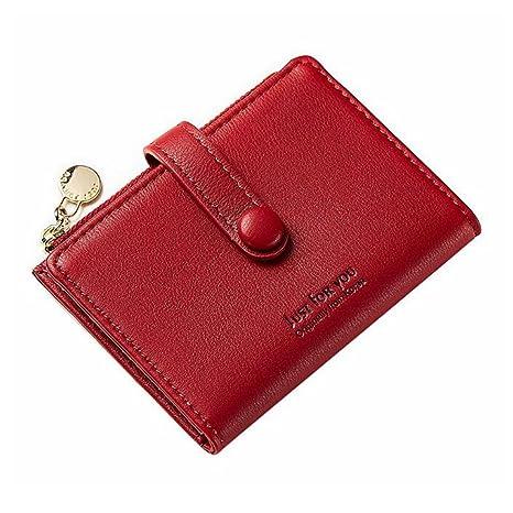 PUWEN Mini Bolso de Mujer a Cartera Mini Cartera de Cuero con Cremallera mcym Rojo Rojo