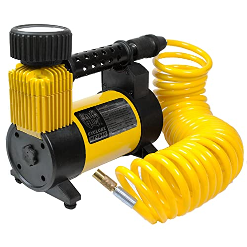 12 Volt Air Compressor, Portable Air Pump 12 Volt, Tire Inflator 140 PSI, Air Compressor by MasterFlow for Cars, Trucks, and Bikes.