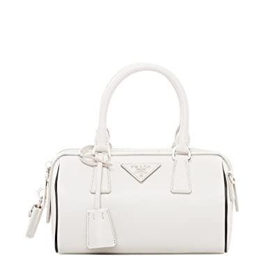 61ce38d45425 ... discount prada womens mini saffiano top handle bag stone white 16275  c95a8 ...