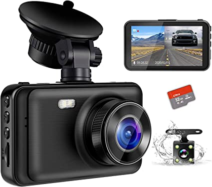 Dash Cam Front and Rear Include 32GB SD Card 1080P Dash Camera for Cars 3 Inch LCD Screen Dual Dash Cam with Night Vision 170/° Wide Angle Dashboard Camera Motion Detection Parking Monitor G-Sensor