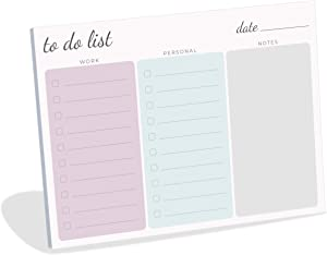 """Large Work Home to Do List Sticky Notes, 8x6"""" inches by Daily Ritmo (Pastel)"""