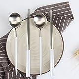 LEKOCH 箸 スプーン セット ステンレス製 カトラリーセット 二膳セット (ホワイト&シルバー)