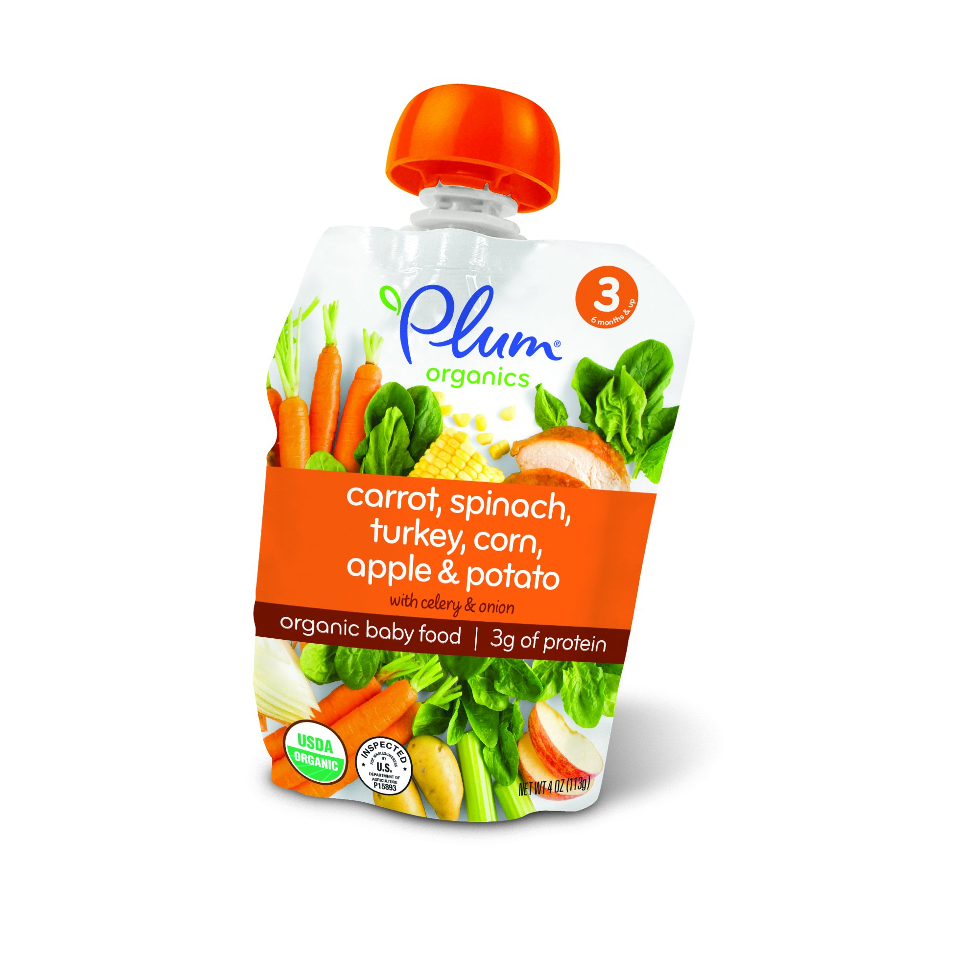 Plum Organics Stage 3, Organic Baby Food, Carrot, Spinach, Turkey, Corn, Apple and Potato, 4 ounce pouches (Pack of 12).