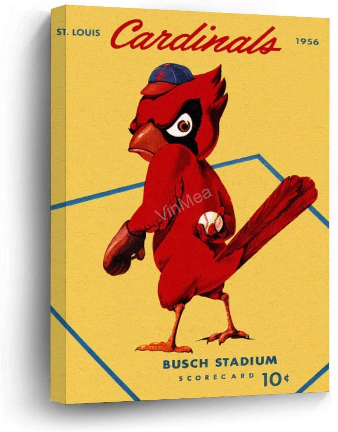 "Canvas Prints St. Louis Cardinals Vintage 1956 Program Wood Framed Wall Art Home Office Decor, 12""x16"""