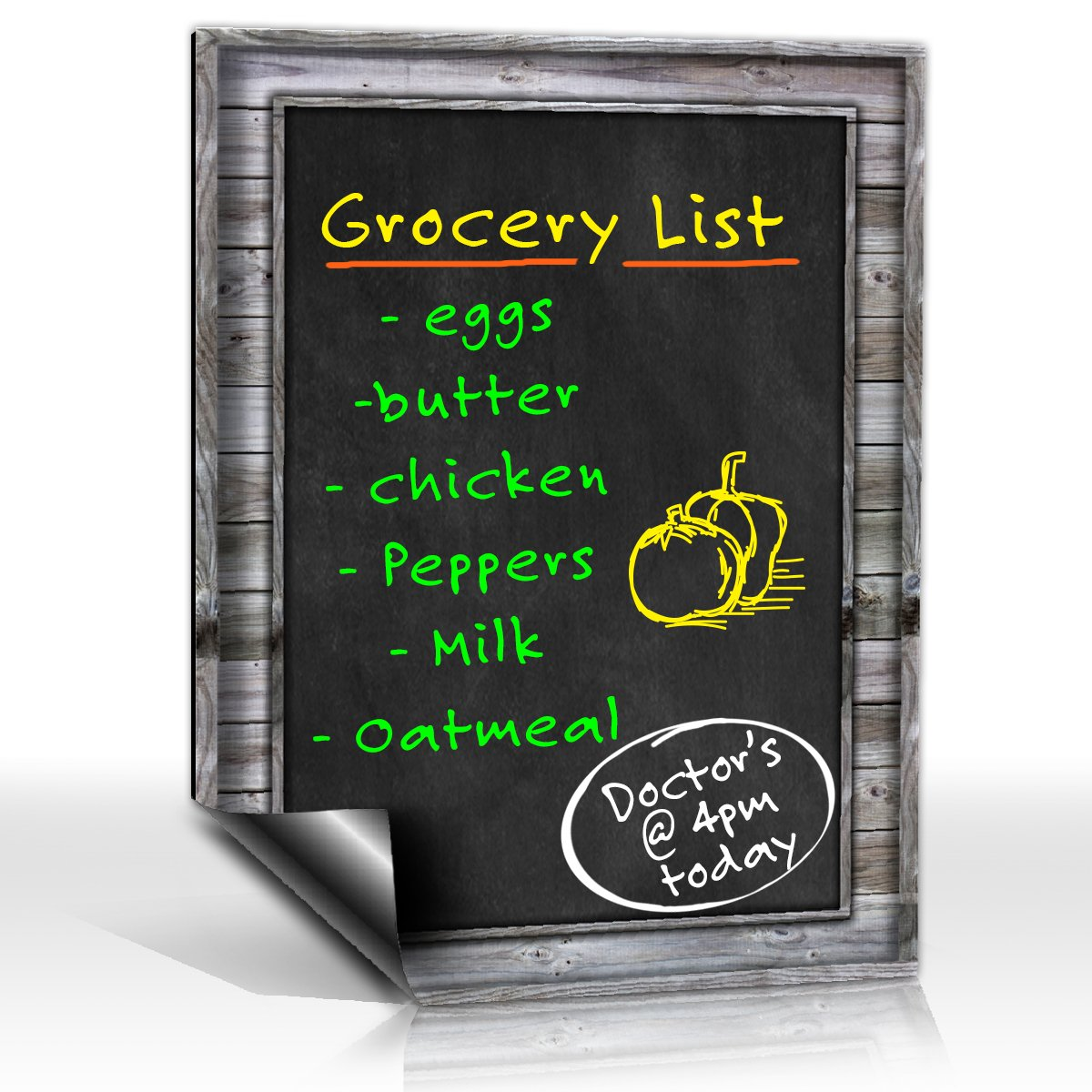 Smart Planner: Black Dry Erase Refrigerator Magnetic Chalkboard Design | Use Horizontal or Vertical as a Weekly Planner for Important Calendar Dates. Meal, Grocery, To Do or Chore List Magnet.