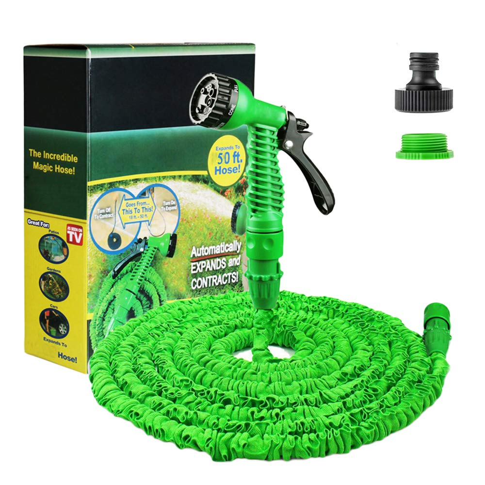 Running bulls 50FT Expanding Garden Water Hose Pipe with 7 Function Spray Gun Expandable Flexible Magic Hose Anti-leakage Lightweight Easy Storage Running bulls-50FT-hsoe