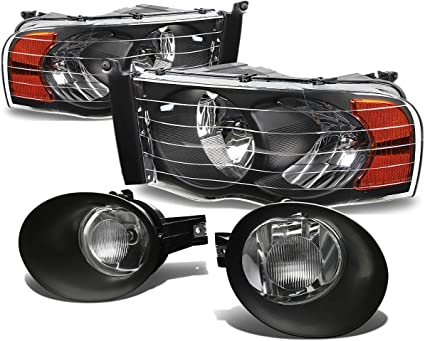 94-01 DODGE RAM 1500 2500 3500 LED CRYSTAL SMOKE HEAD LIGHTS W//YELLOW FOG+6K HID