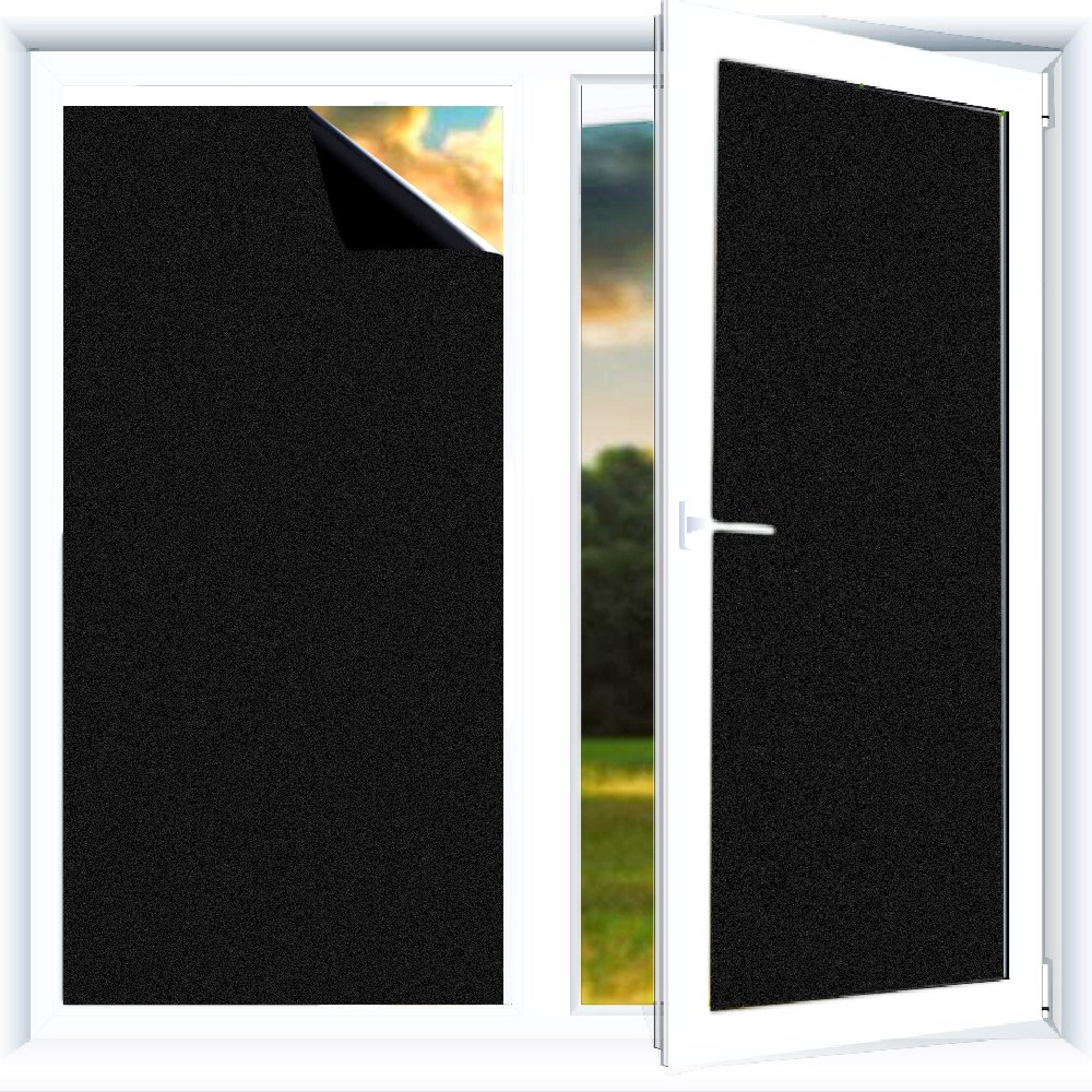Yzakka Blackout Window Film, Static Cling Window Tint Privacy for Glass Matte Light Block Heat Control Night Shift for Home Bedroom Warehouse 17.7in by 13.1ft Black