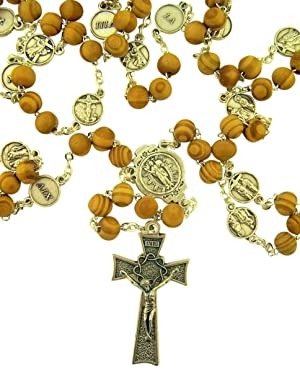 Olive Wood and Silver Toned Base Stations of the Cross Prayer Bead Rosary, 23 Inch