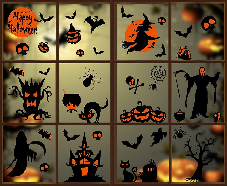 Voqeen Halloween Stickers Ch/âteau Sorci/ère Autocollant dhorreur D/écoration De F/ête pour Maisons Hant/ées DIY Amovibles Statique D/écalcomanie Murale Fen/être Magasin Maison Fournitures