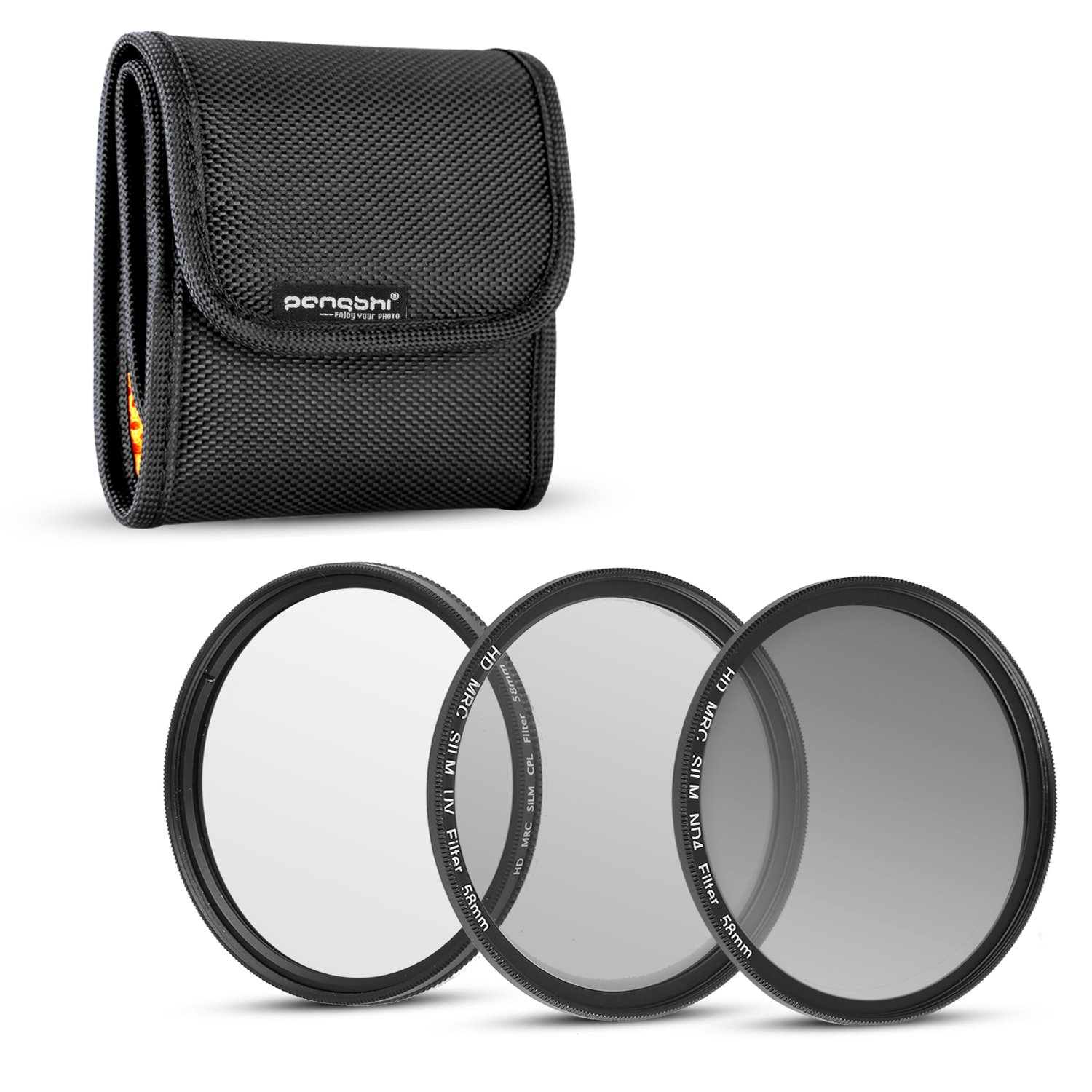 pangshi 58MM UV CPL Polarizer Neutral Density ND4 Lens Filter Professional Photography Filters Kit with Carry Pouch for DSLR Camera Lenses with 58mm Filter Thread by pangshi