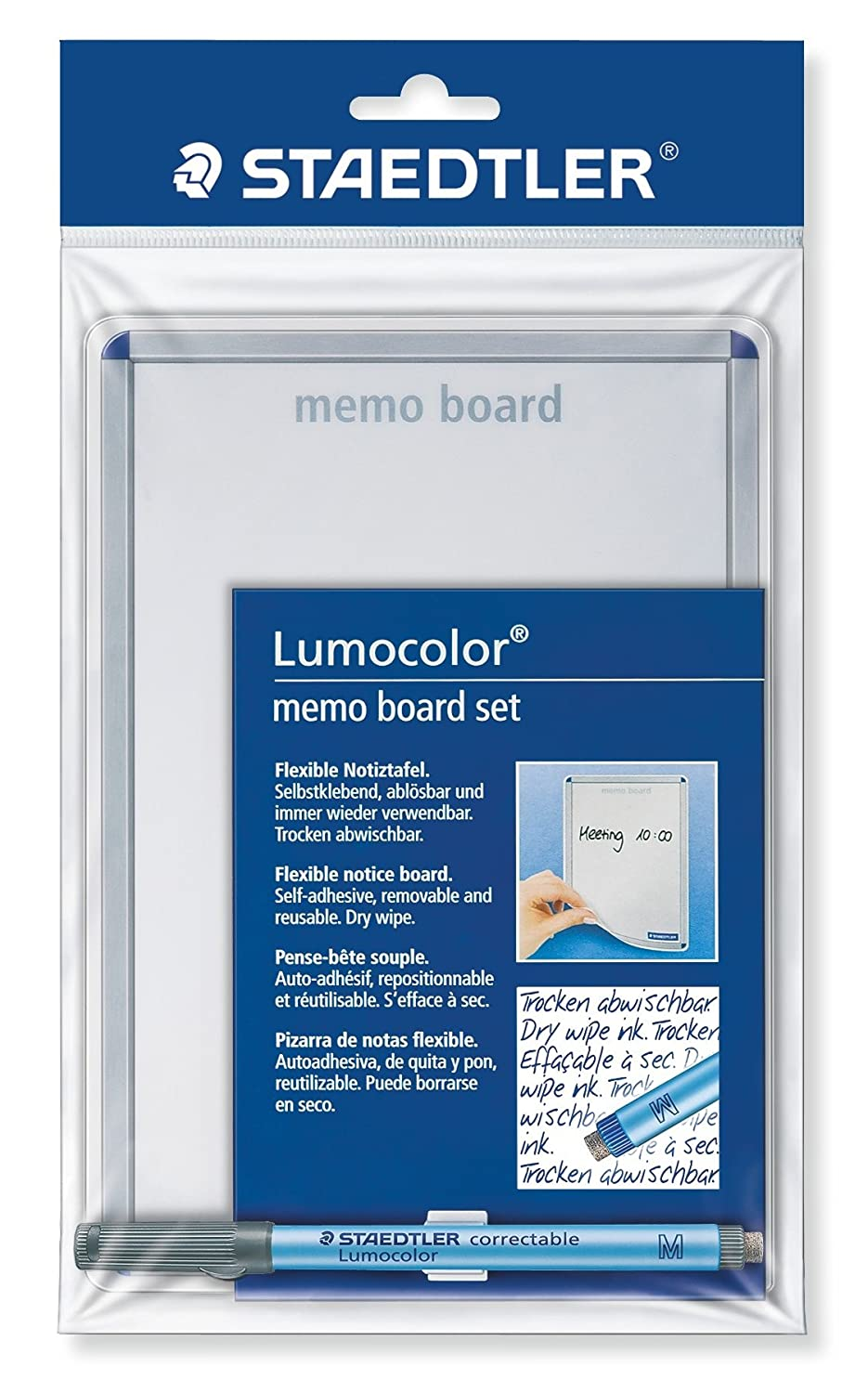 Staedtler Lumocolor 641 MB Dry-Wipe Memo Board Set with Lumocolor Correctable