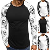iOPQO T-Shirts for Men, Sweater Casual Print Letter Patchwork Long Sleeve Blouse