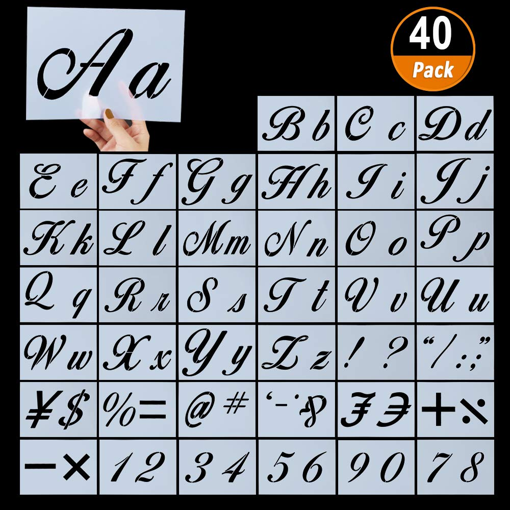 40 Pieces Letter Stencils for Painting on Wood, Reusable Plastic Alphabet Stencils with Calligraphy Font Upper and Lowercase Letters, Numbers and Signs, 8.27''x5.9'' by Aniann