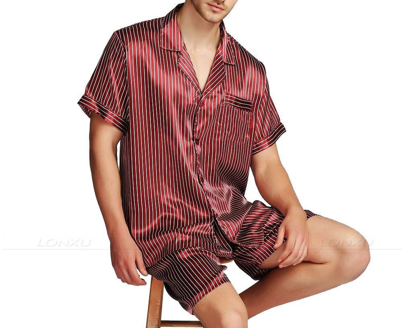 Mens Silk Satin Pajamas Pajama Pyjamas Set Sleepwear Set Loungewear Short Sleeves,Wine Striped,XXL