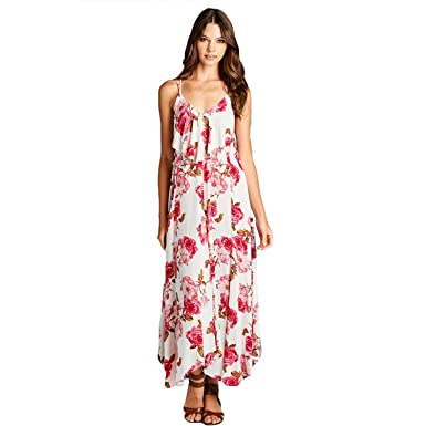 a6292c61c0d Aakaa Womens Floral Maxi Dress Pink Floral Large at Amazon Women s ...