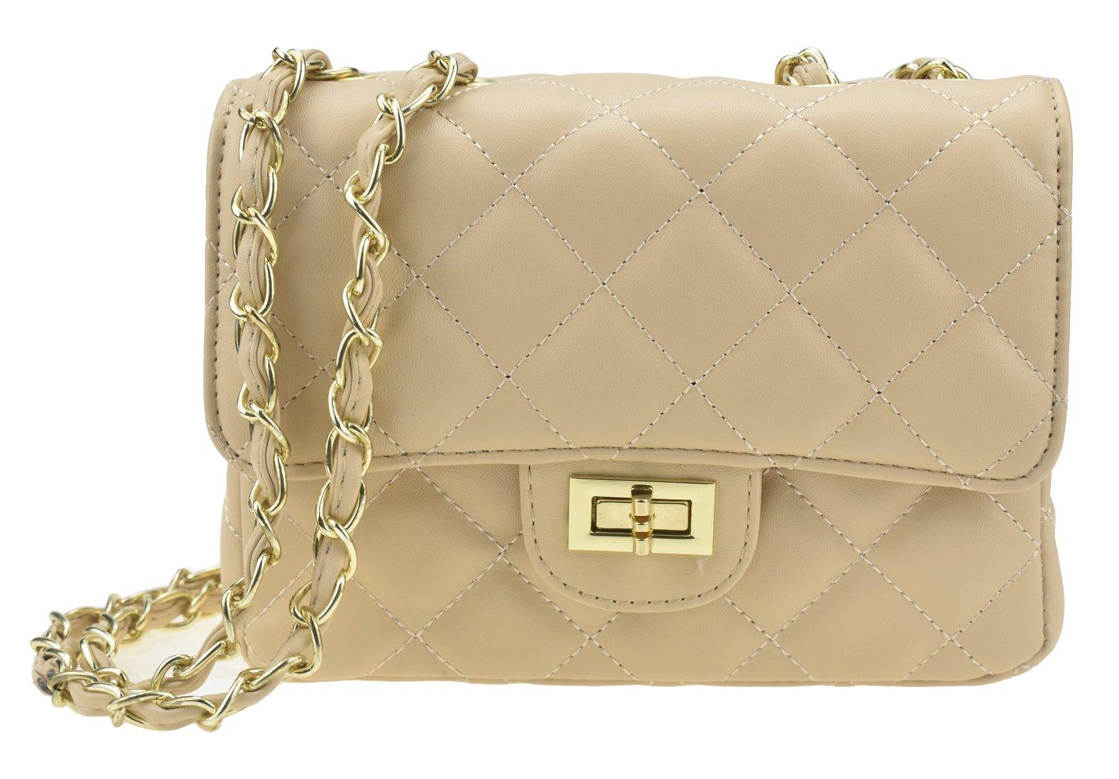 Covelin Women's Leather Fashion Handbag Quilting Envelope Cross Body Shoulder Bag Apricot