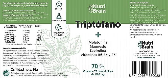 Natural Triptófano con Melatonina y Espirulina | 70 Comprimidos | Fórmula natural para mejorar el sueño, reducir la ansiedad, aumentar la energía, la ...