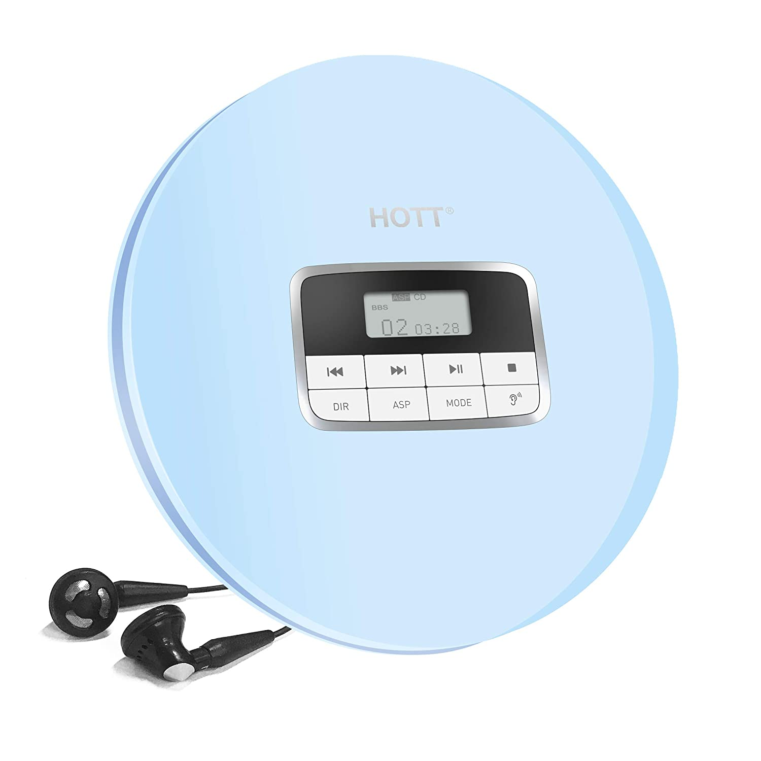 HOTT CD511 Personal CD Player with Headphone Portable CD Player Blue Anti-Skip//Shockproof Protection Compact CD Music Disc Walkman Player with LCD Display for Adults Students Kids