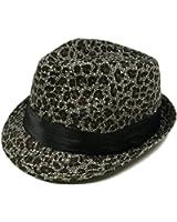 Gray & Black Leopard Cheetah Print Black Band Fedora Straw Hat