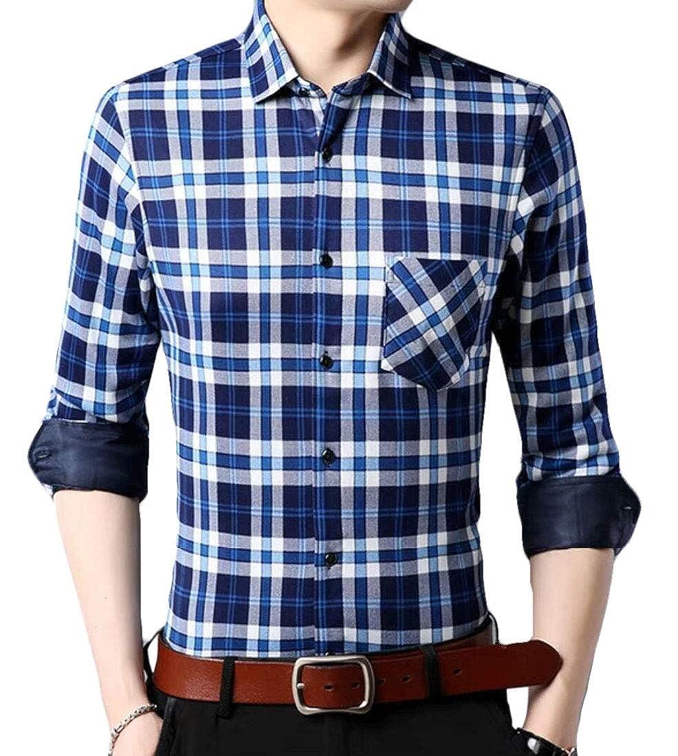 Zantt Mens Long Sleeve Button Up Fleece Linen Checked Classic Shirts