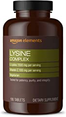 Amazon Elements Lysine Complex with Vitamin C, 1500 mg L-Lysine with 100 mg Vitamin C per Serving (3 Tablets), Supports Immun
