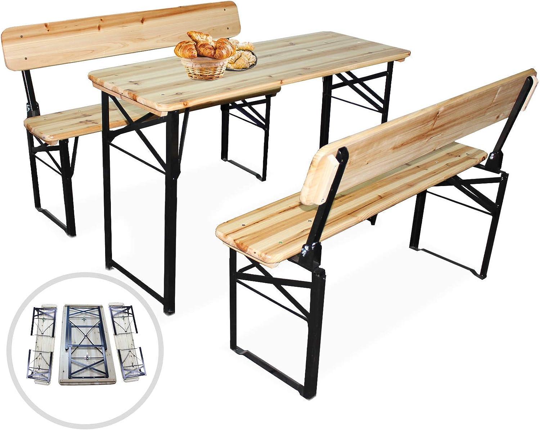 AVANTI TRENDSTORE Ideale per Festeggiare nel Proprio Giardino Dimensioni Tavolo: 180x76x60 cm Set birreria per lesterno in Legno Massiccio Laccato panchine: 180x46x25 cm Luma