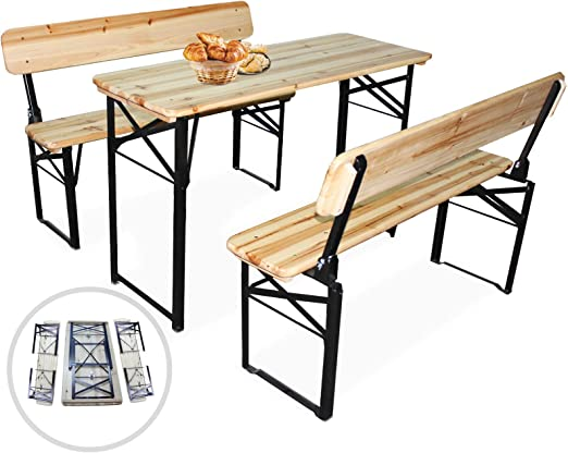Tavoli E Panche Da Birreria Usati.Nova Set Birreria Tavolo E 2 Panche Da Giardino Pieghevole 3