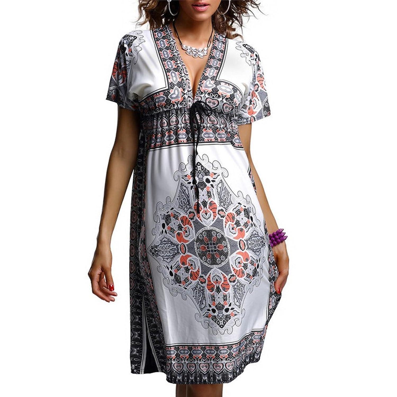 D9Q Sexy Sommer Frauen Dame böhmisches Kleid mit Paisley Muster V Ausschnitt Sommerkleid Strandkleid Rock