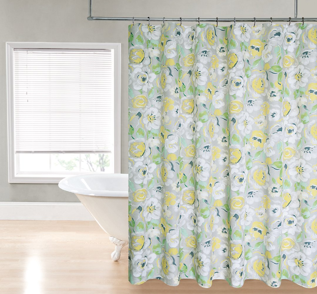 Amazon.com: Regal Home Collections Printed Flower Fabric Shower Curtain, 70  By 72 Inch, Yellow: Home U0026 Kitchen