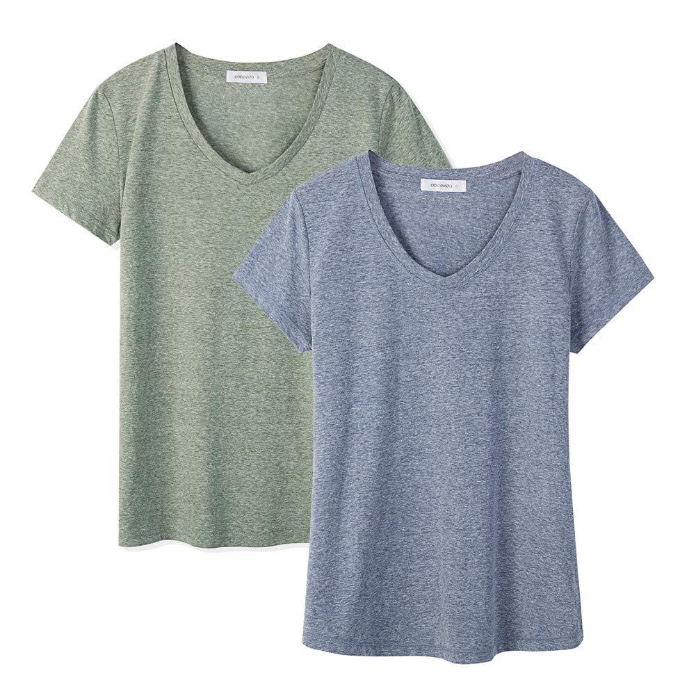 Dolcevida 2-Pack Cotton Short Sleeve T Shirt V-Neck Tees for Women (X-Large, Olives Mix&Blue)