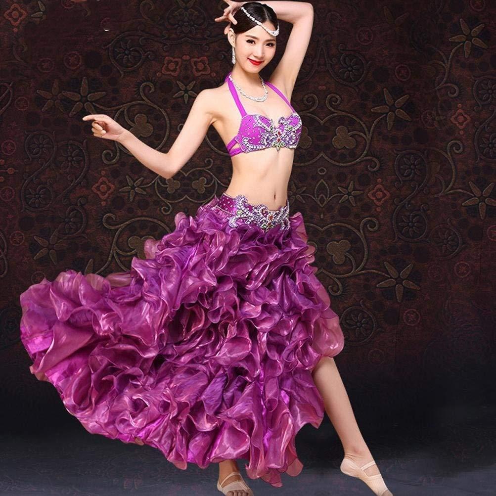 【格安saleスタート】 女性のベリーダンスの衣装大人のラインストーンブラパフォーマンスセット高スリット波ビッグスイングドレス衣装2個 B07Q5XVVMR l|パープル L l|パープル パープル l パープル L l, 愛-ギフト:1f02da6c --- a0267596.xsph.ru