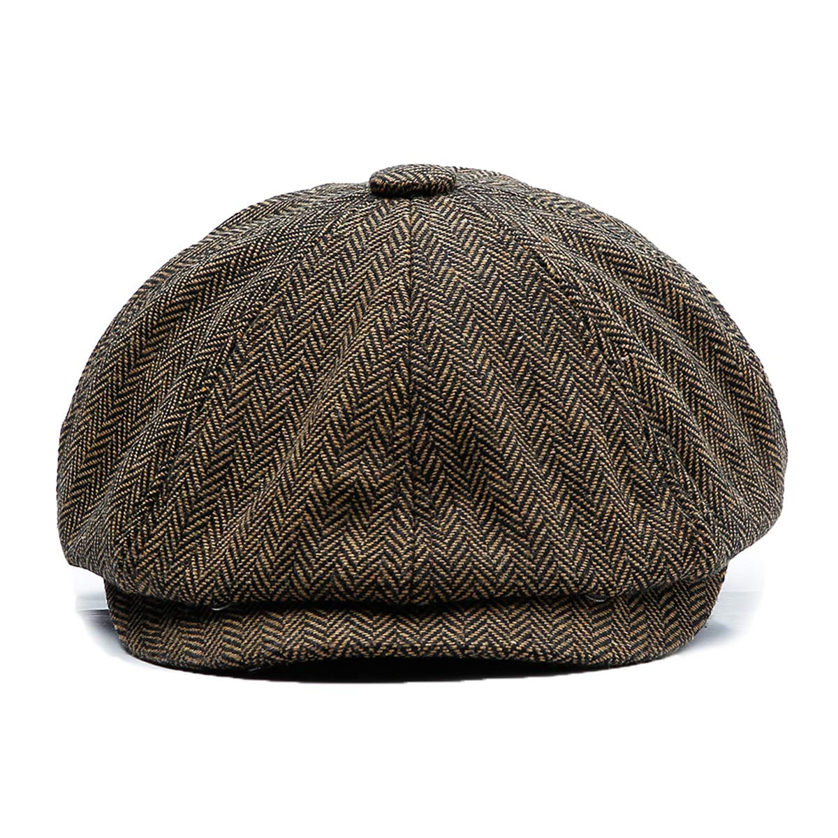 KeepSa Men Visor Woolen Newsboy Beret Caps Outdoor Casual Winter Cabbie Ivy Flat Hat
