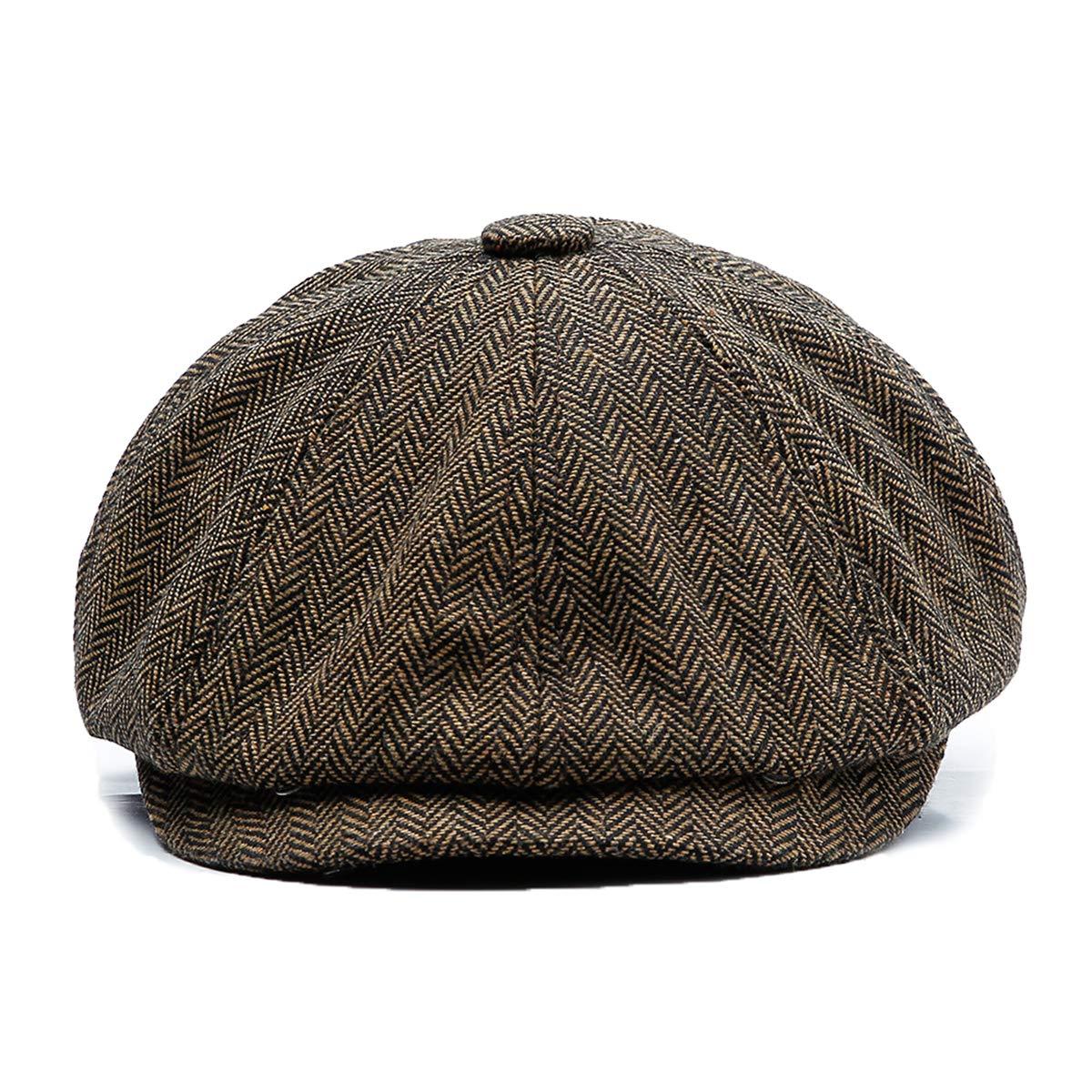 KeepSa Newsboy Cap Baker Boy Hat Flat Caps - 8 Panel Peaky Herringbone Tweed Gatsby Hat Ivy Irish Cap for Men and Women