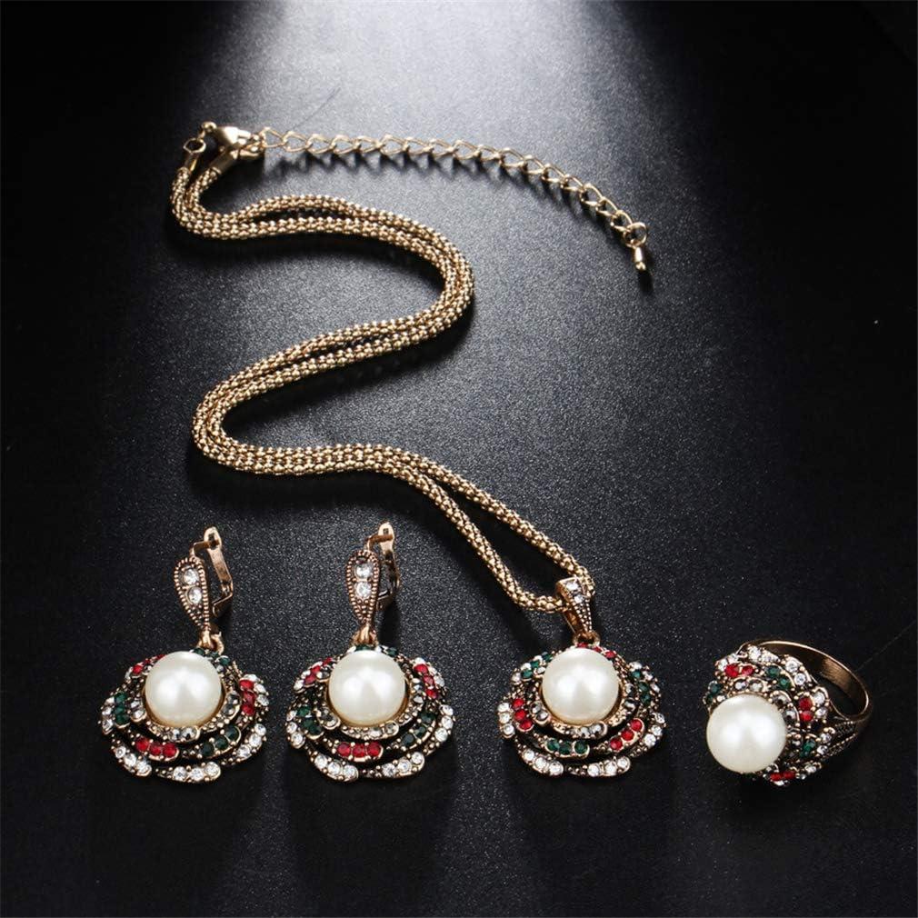 Yazilind Femmes Rose Fleur en Forme De Strass Perles Dimitation Pendentif Vintage Collier Boucles doreilles Anneaux /Él/égant Banquet Bijoux Ensemble