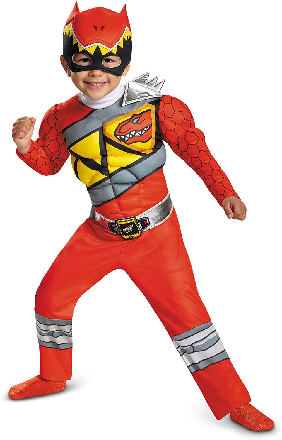 Muscle Costume For Boys Red Dino Charge Classic Kids Beast Morphers Ninja Dinosaur Red Ranger For Toddler Large 4-6